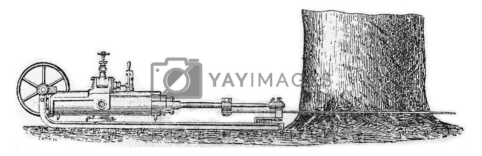 Saw the mechanical felling, vintage engraved illustration.