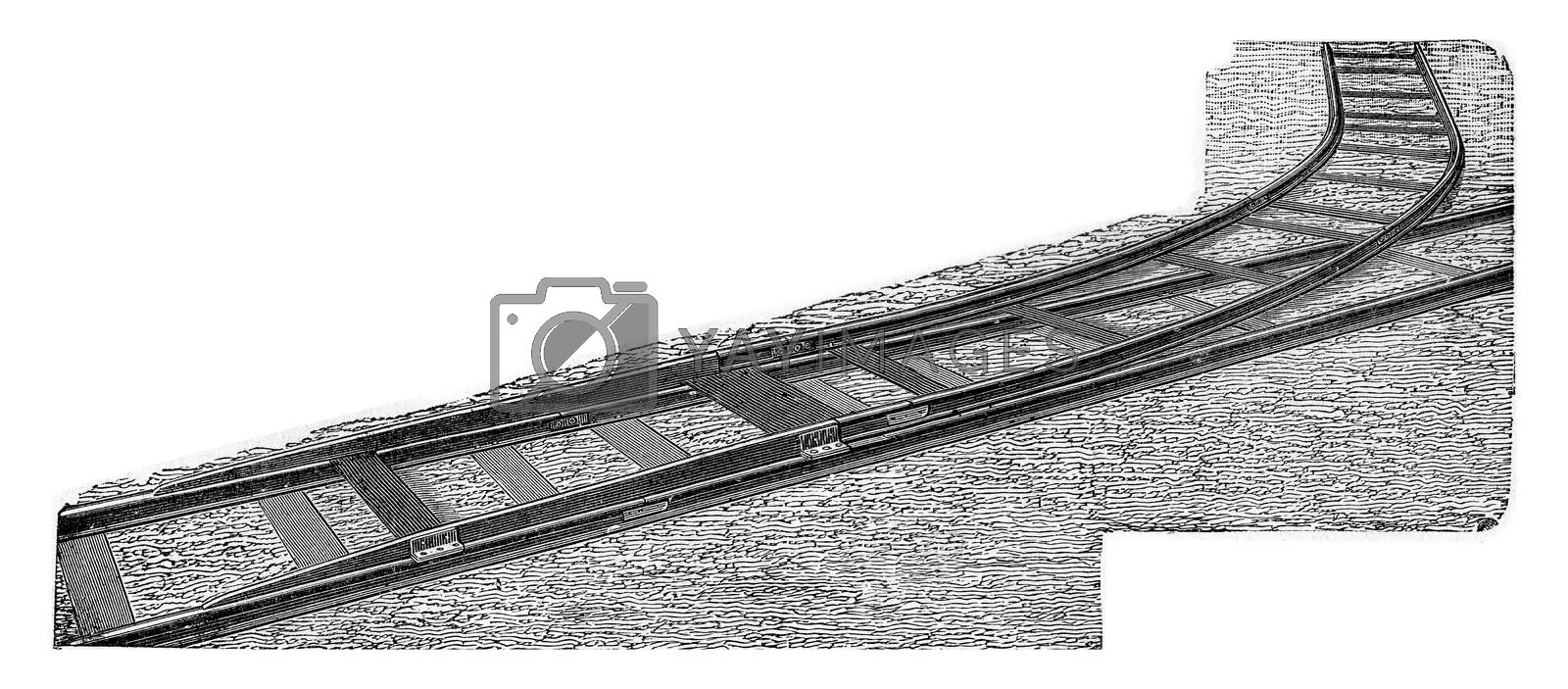 The Decauville derail to instantly connect an auxiliary lane on any point of an existing path without cutting, vintage engraved illustration.