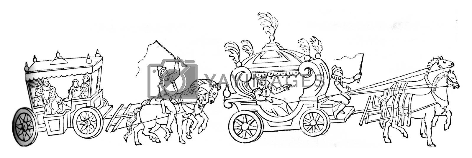 Cart Queen Elizabeth and its sequel, to post a printout of that time, vintage engraved illustration. Colorful History of England, 1837.