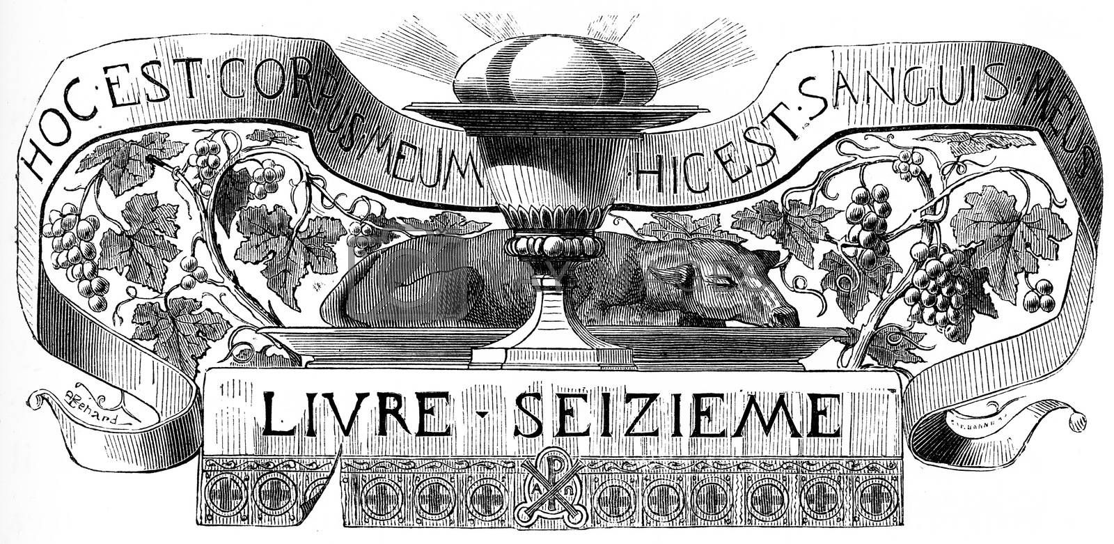 Eucharistic Supper, vintage engraved illustration.