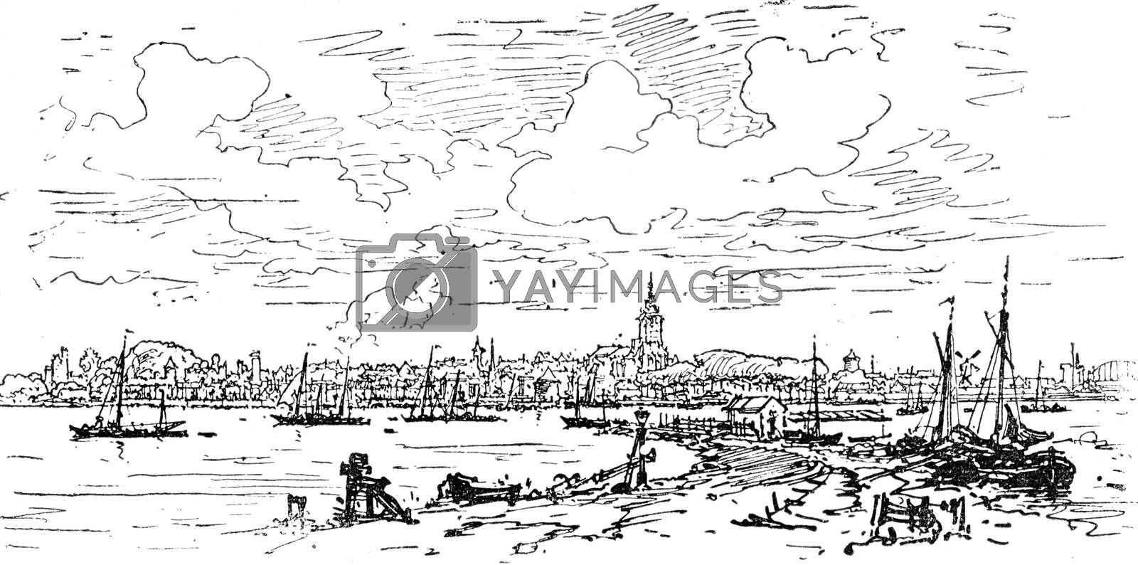 Holland. General view of Nijmegen, vintage engraved illustration. Journal des Voyage, Travel Journal, (1880-81).