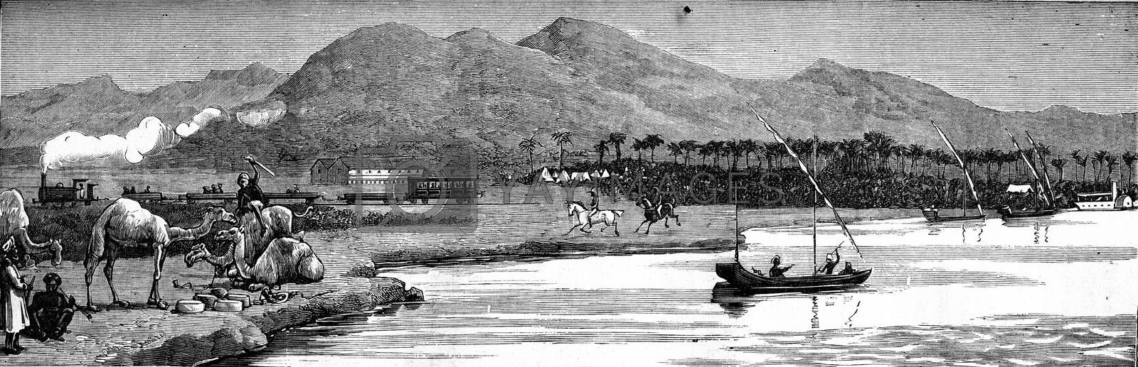 The new English shipping depot in Sudan, with English police patrolling. From Travel Diaries, vintage engraving, 1884-85.