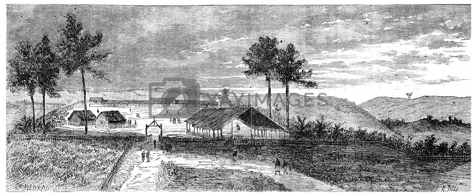 View of Franceville, vintage engraved illustration. Journal des Voyage, Travel Journal, (1880-81).