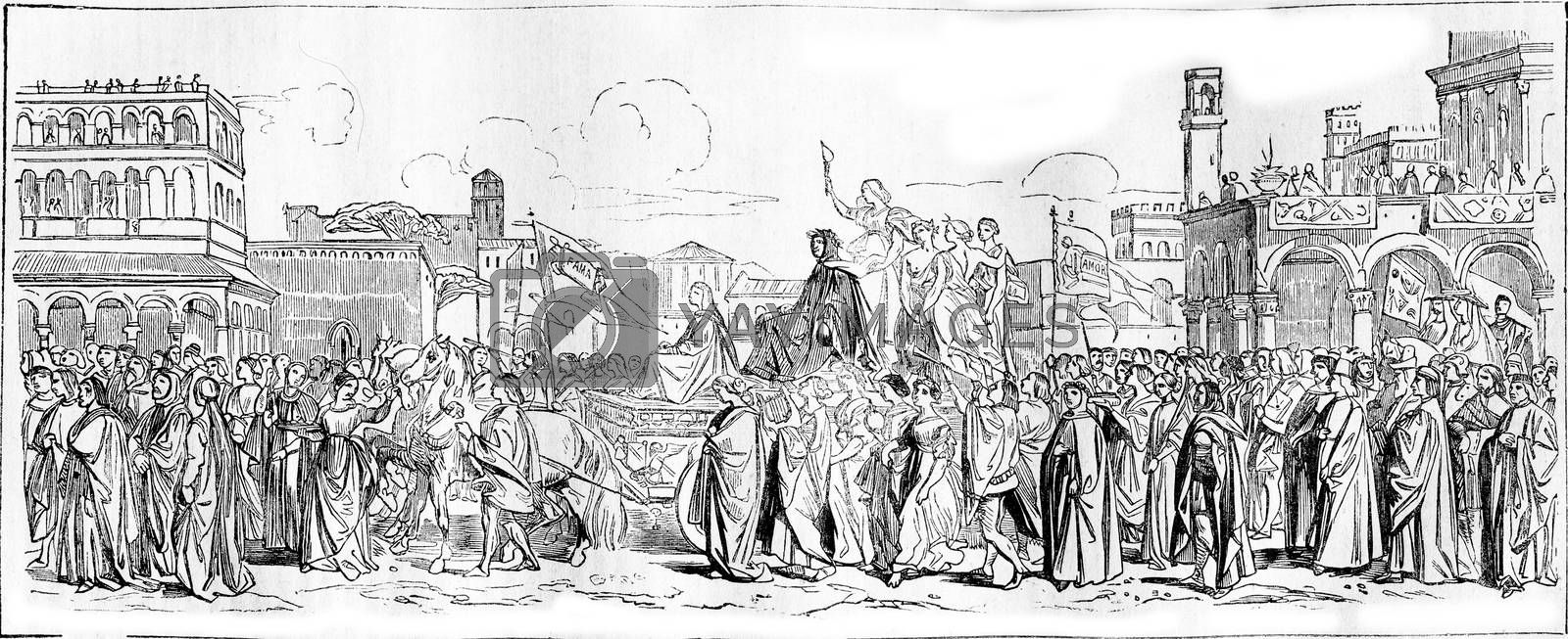 1836 Exhibition of Painting, The Triumph of Petrarch, vintage engraved illustration. Magasin Pittoresque 1836.