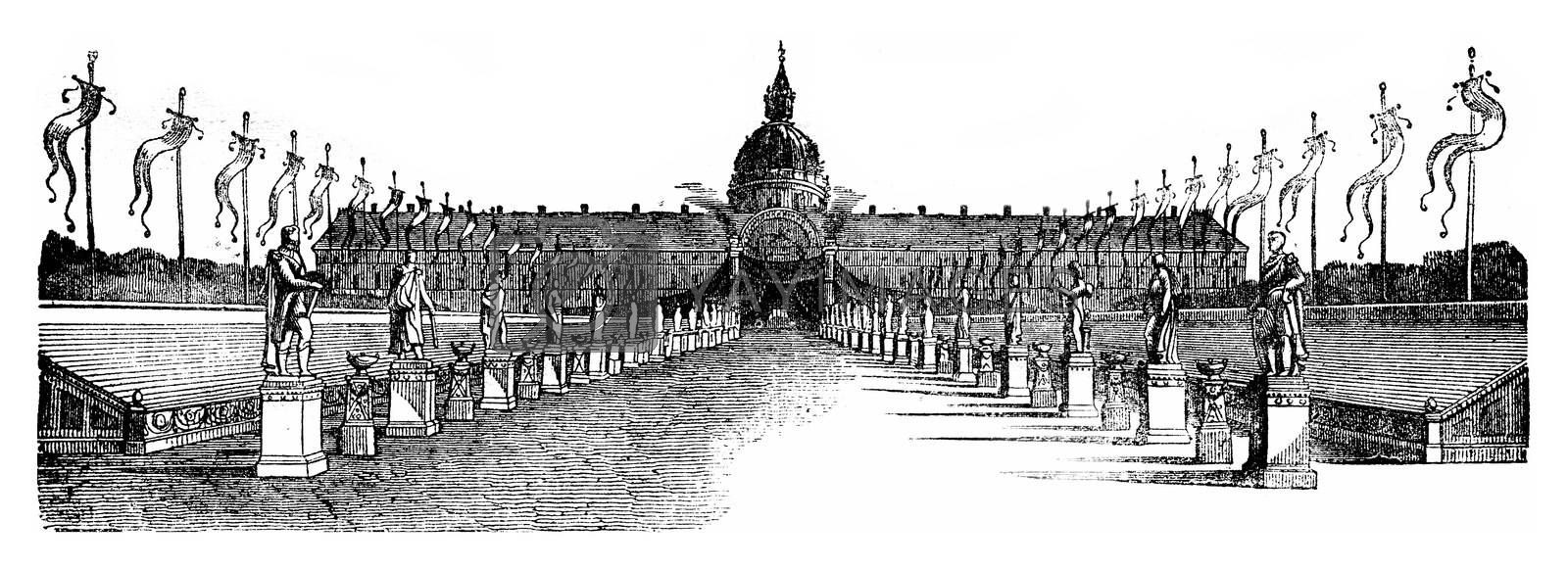 Decorating a part of the Esplanade des Invalides, vintage engraved illustration. Magasin Pittoresque 1841.