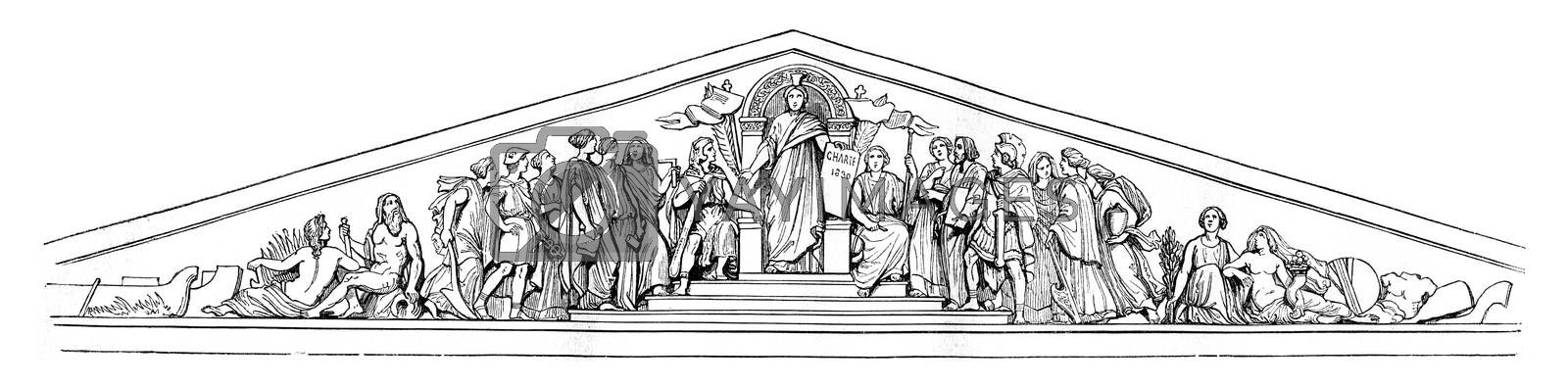 Pediment of the Chamber of Deputies, vintage engraved illustration. Magasin Pittoresque 1842.