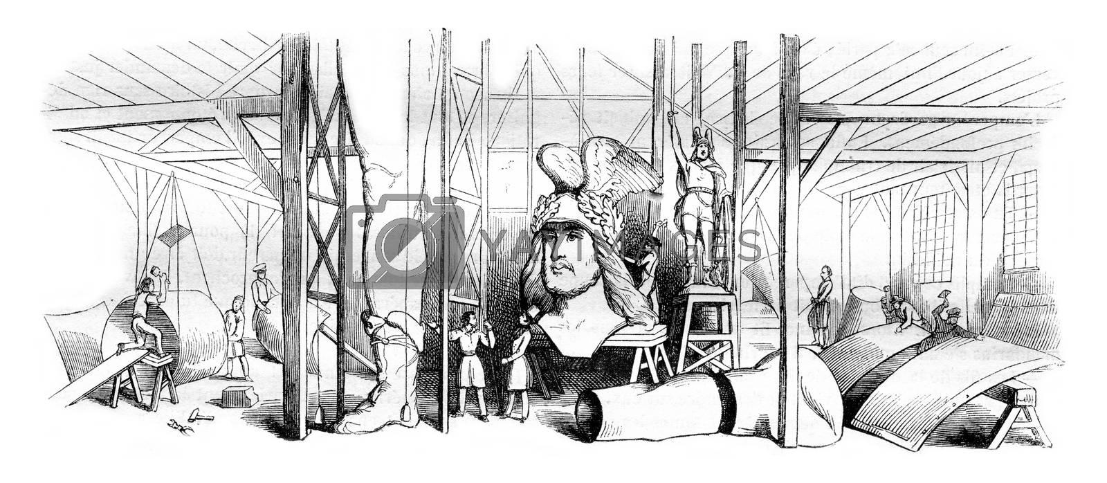 Workshop of Mr. Ernest sculptor Bandol or one voil fragments of the statue of Arminius, vintage engraved illustration. Magasin Pittoresque 1843.