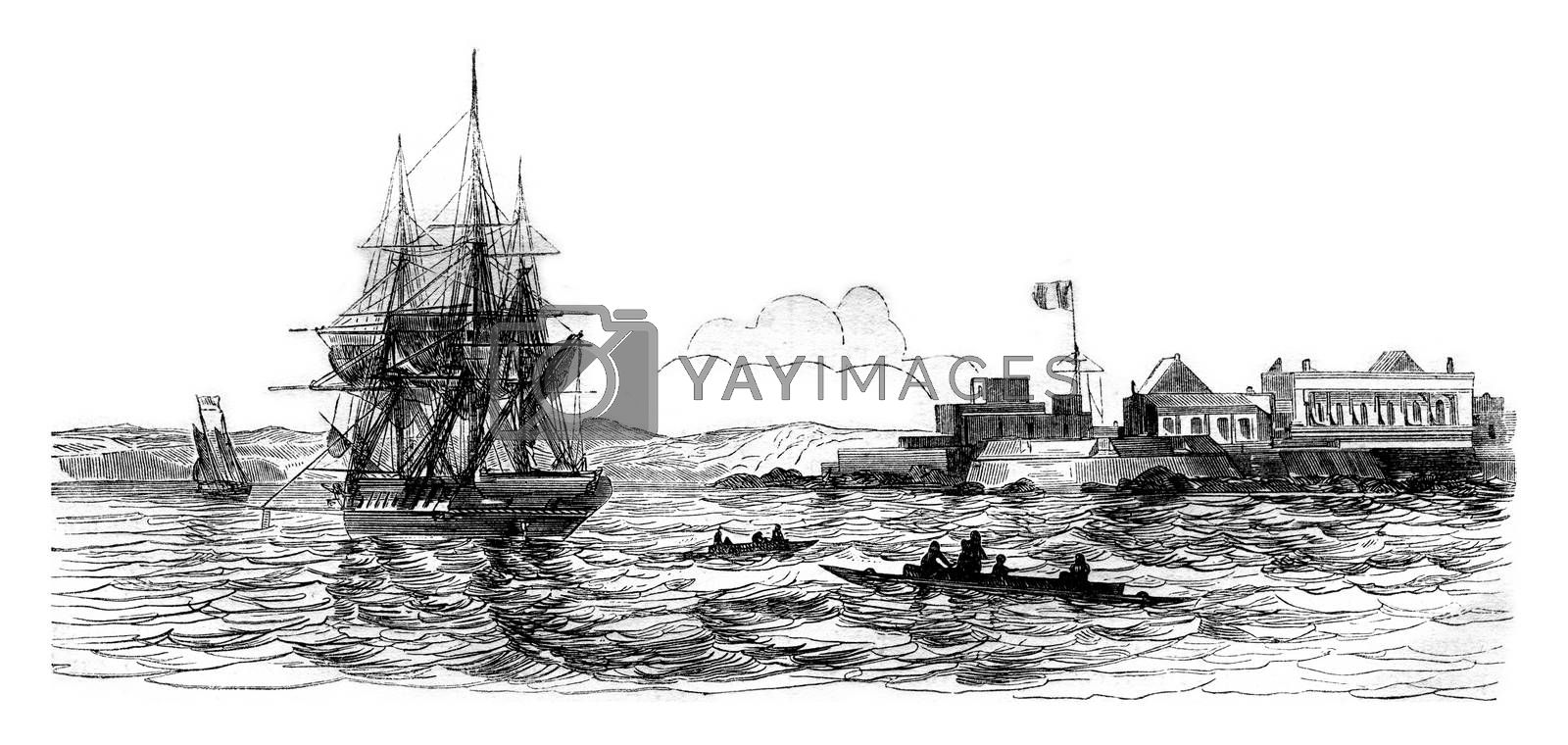 Gorce Island, South Point, vintage engraved illustration. Magasin Pittoresque 1843.