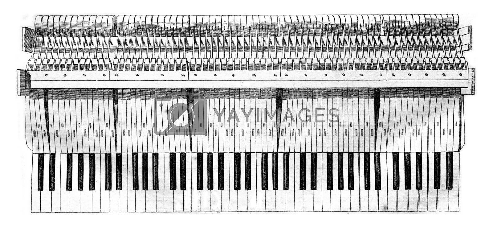 Keys, Head of the hammer, Hammer handle, Hammer nuts, Barre hammers, vintage engraved illustration. Magasin Pittoresque 1844.