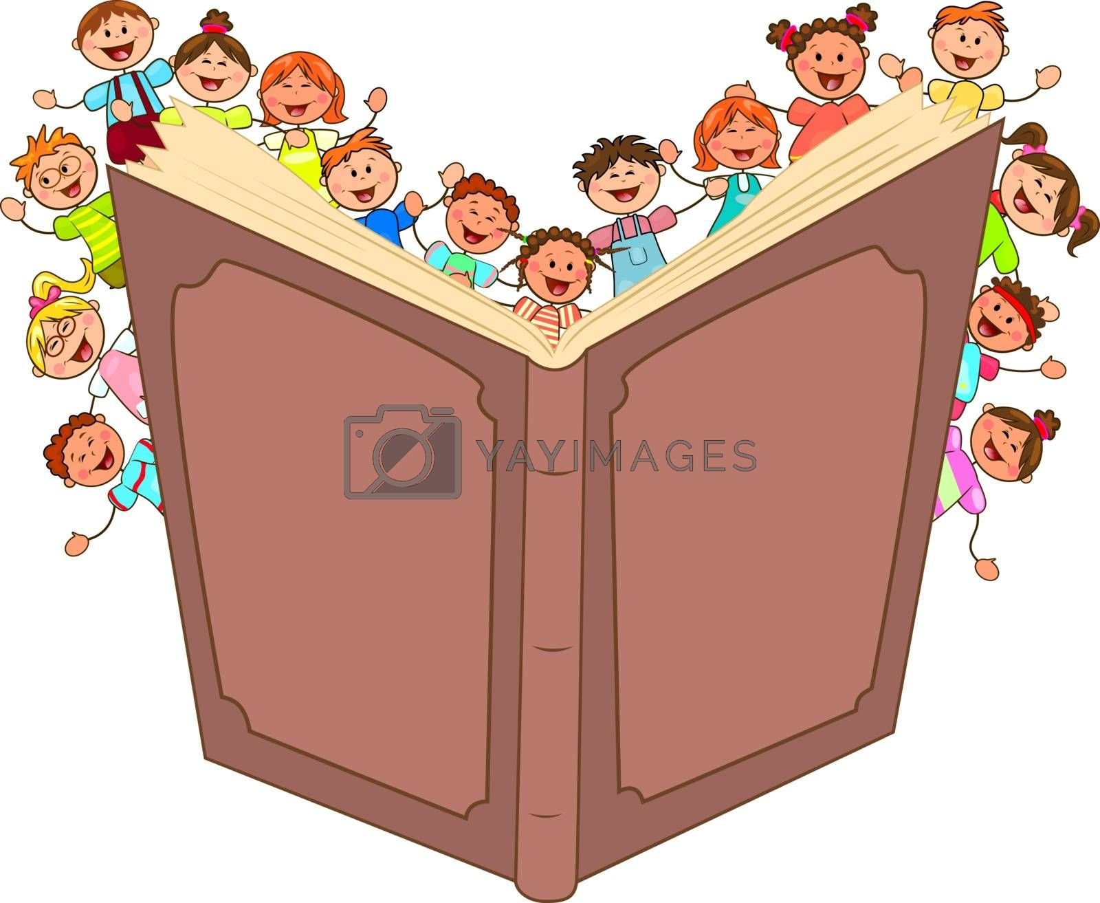 Happy little kids read big book by liolle