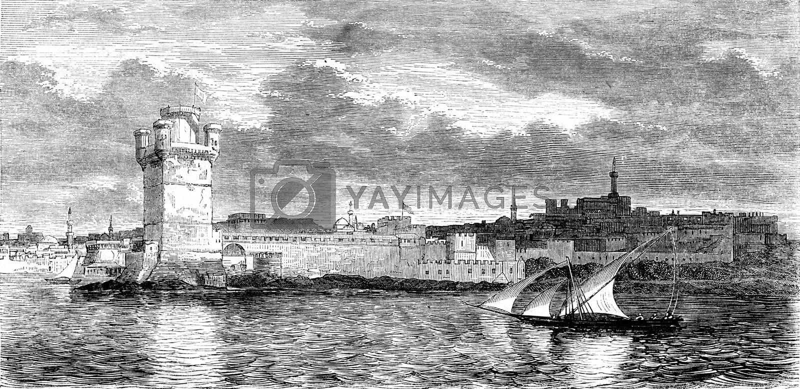 Island of Rhodes, View of Rhodes, vintage engraved illustration. Magasin Pittoresque 1844.