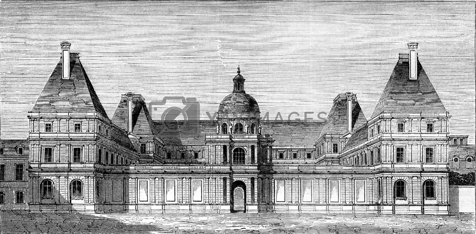Luxembourg Palace, stand for Marie de Medici, vintage engraved illustration. Magasin Pittoresque 1845.