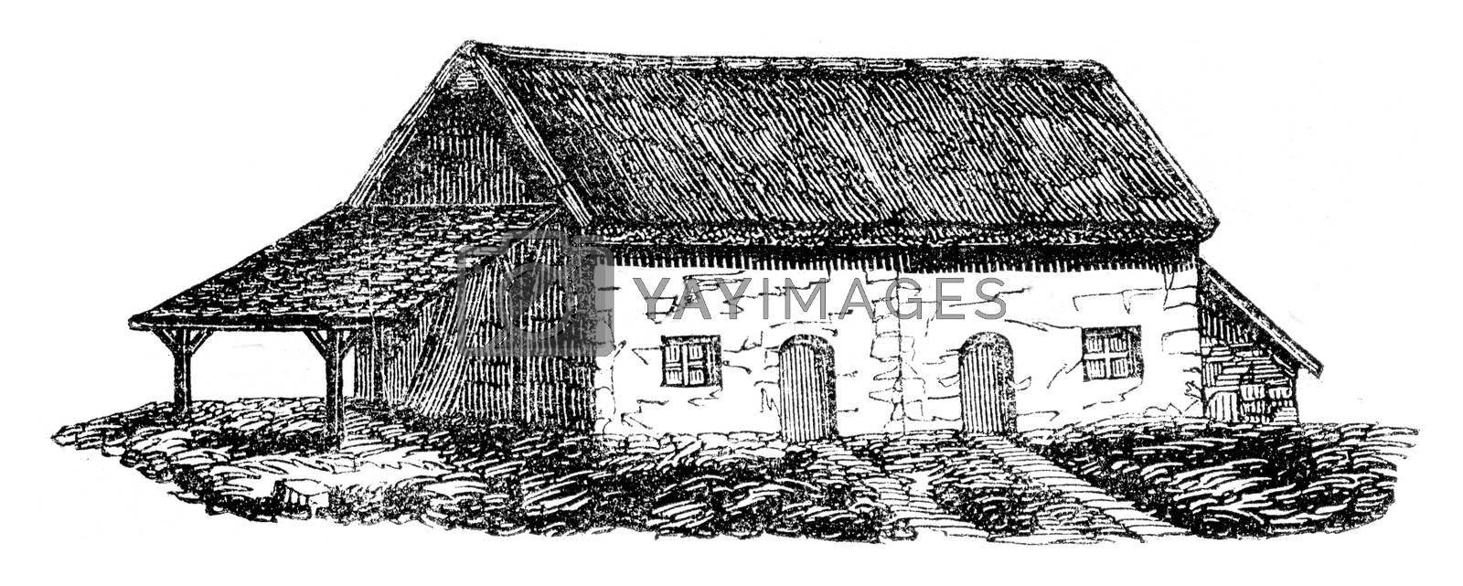Department of North Cotes, Large farm back 500 francs, vintage engraved illustration. Magasin Pittoresque 1845.