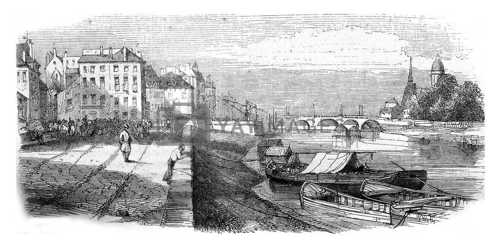 Chalons sur Saone, department of Saone et Loire, view from the dock, vintage engraved illustration. Magasin Pittoresque 1845.