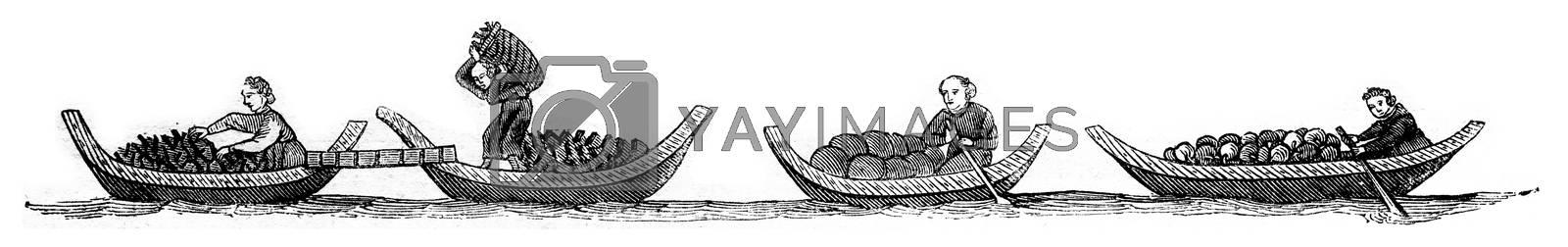 Port coal, fruits boats, vintage engraved illustration. Magasin Pittoresque 1846.