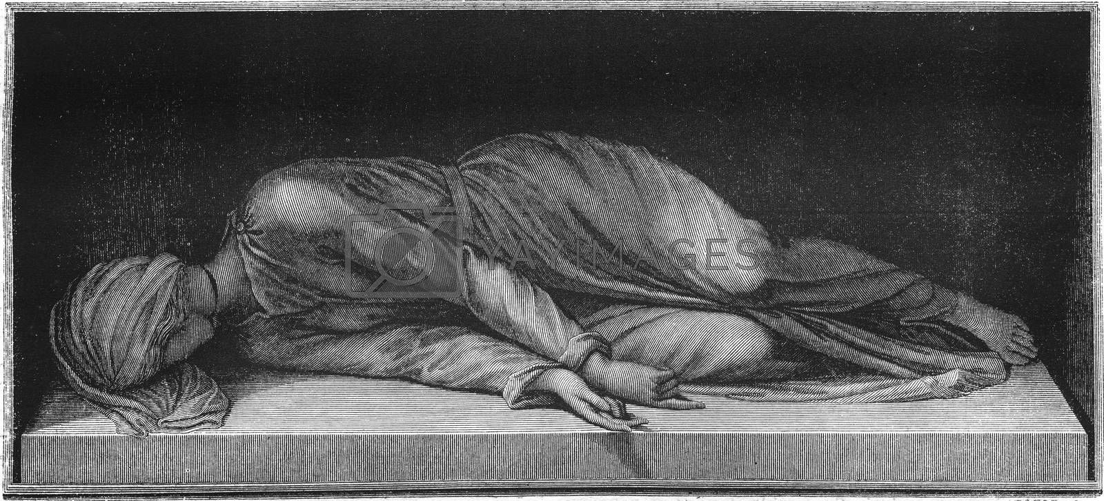 Statue of Saint Cecilia, by Etienne Modern, in the church of Siante in Trastevere Cecilia in Rome, vintage engraved illustration. Magasin Pittoresque 1847.
