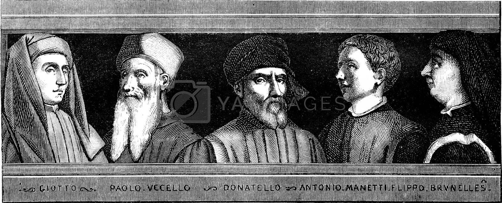 Giotto, Paolo Uccello, Donatello, Antonio Manetti, Filippo Brunelleschi, vintage engraved illustration. Magasin Pittoresque 1852.