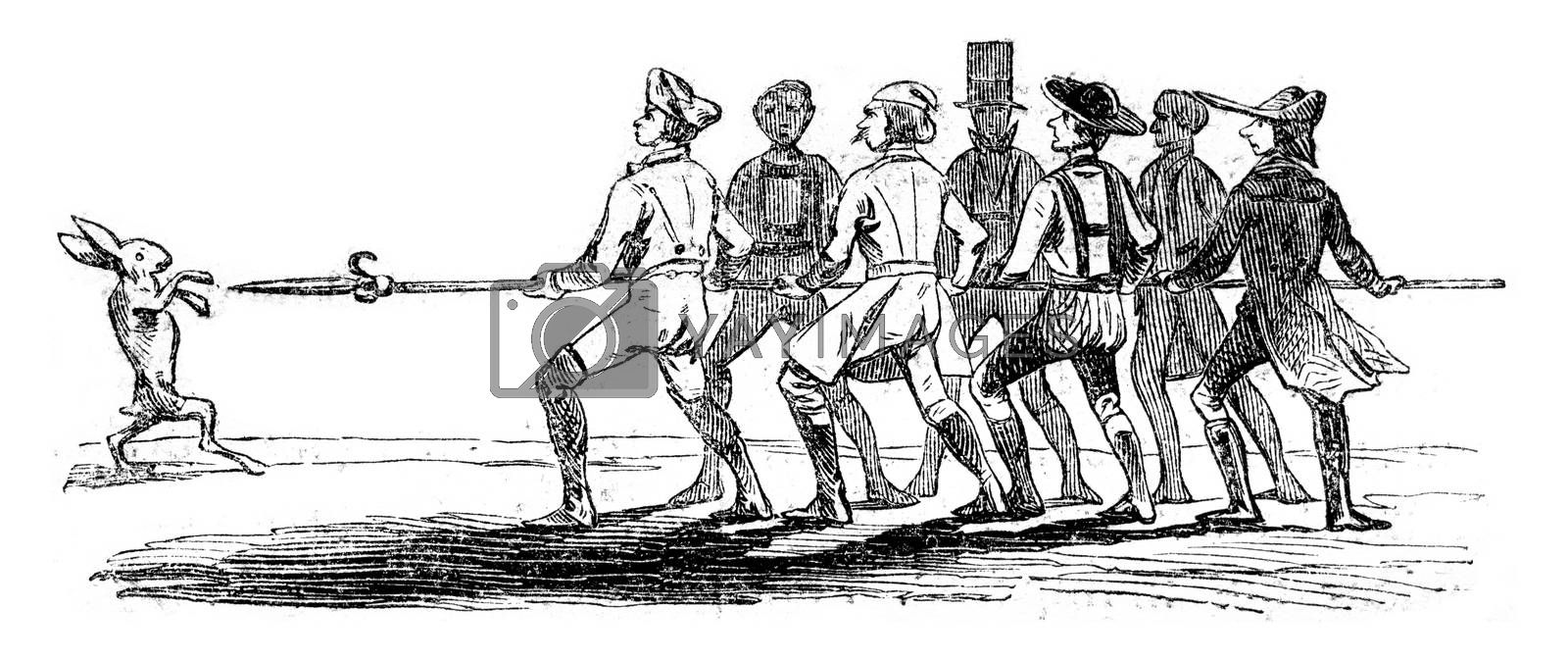 The seven Swabians, vintage engraved illustration. Magasin Pittoresque 1852.