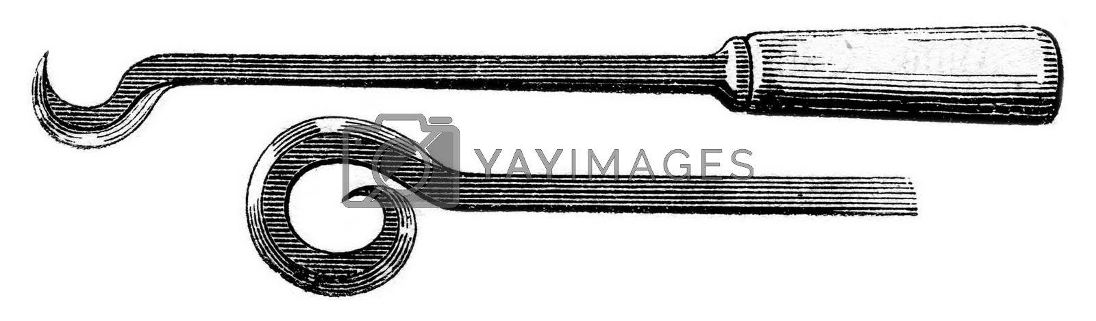 Circular hooks, vintage engraved illustration. Magasin Pittoresque 1853.
