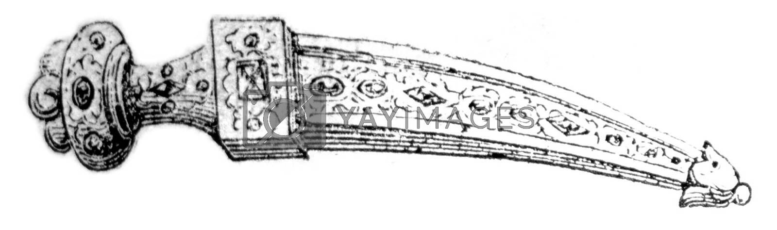 The Khanjar, vintage engraved illustration. Magasin Pittoresque 1857.