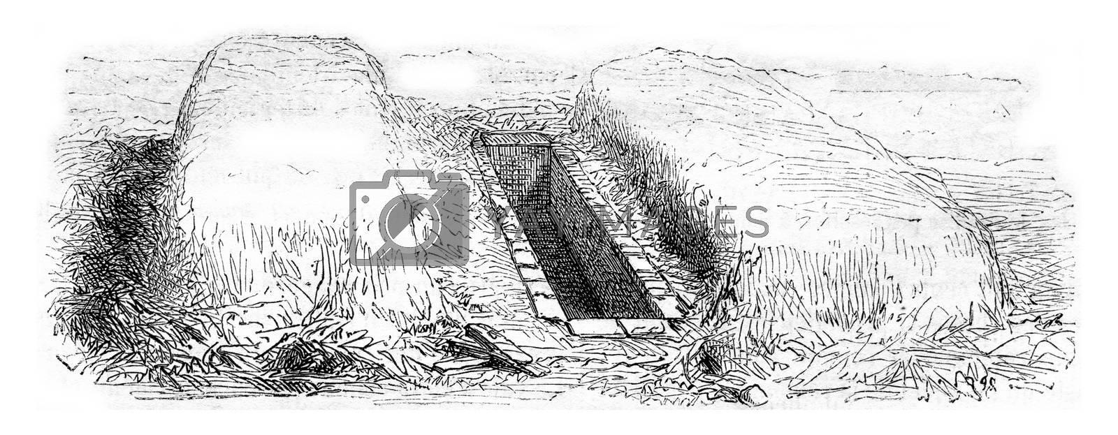 Manure pit, vintage engraved illustration. Magasin Pittoresque 1857.