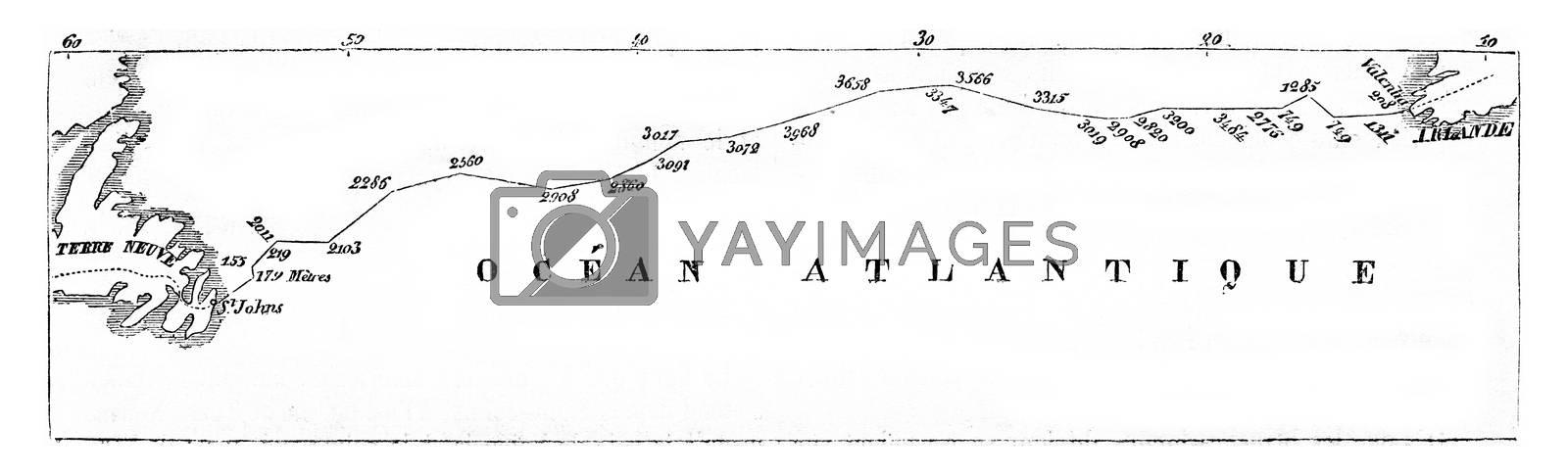 Online surveys of Ocean between Newfoundland and Ireland, vintage engraved illustration. Magasin Pittoresque 1857.