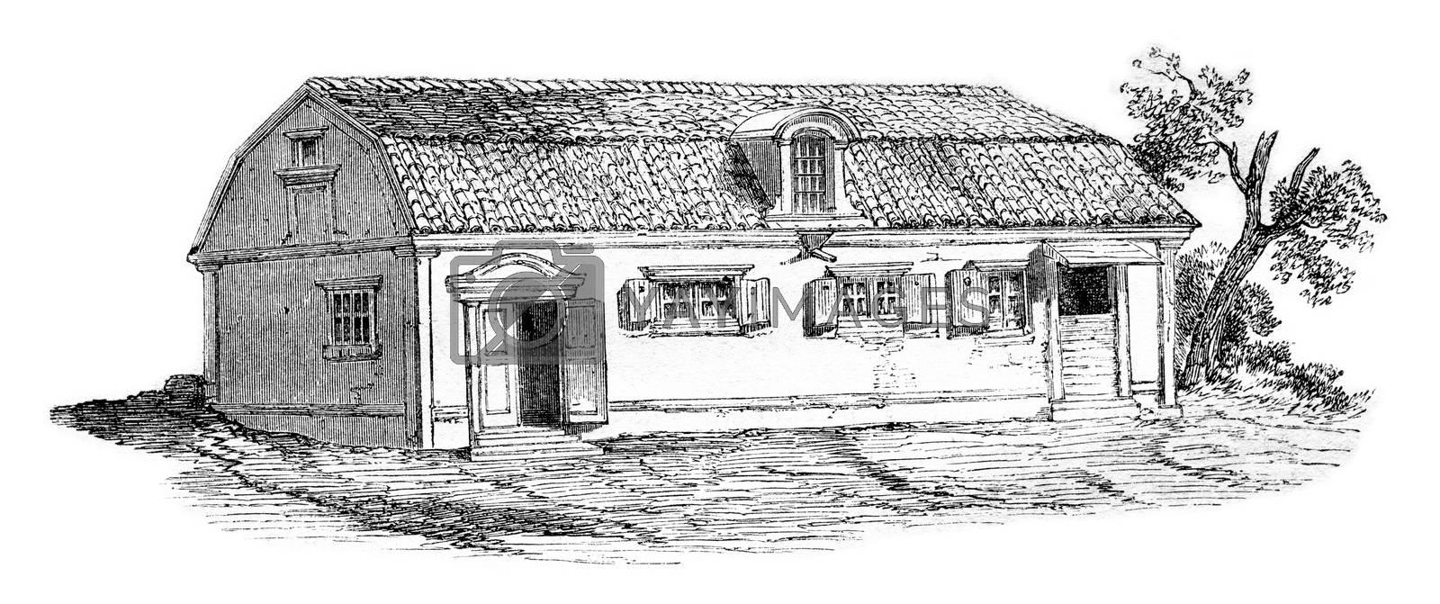 The home or Swedenborg lived in the suburb of Stockholm, vintage engraved illustration. Magasin Pittoresque 1857.
