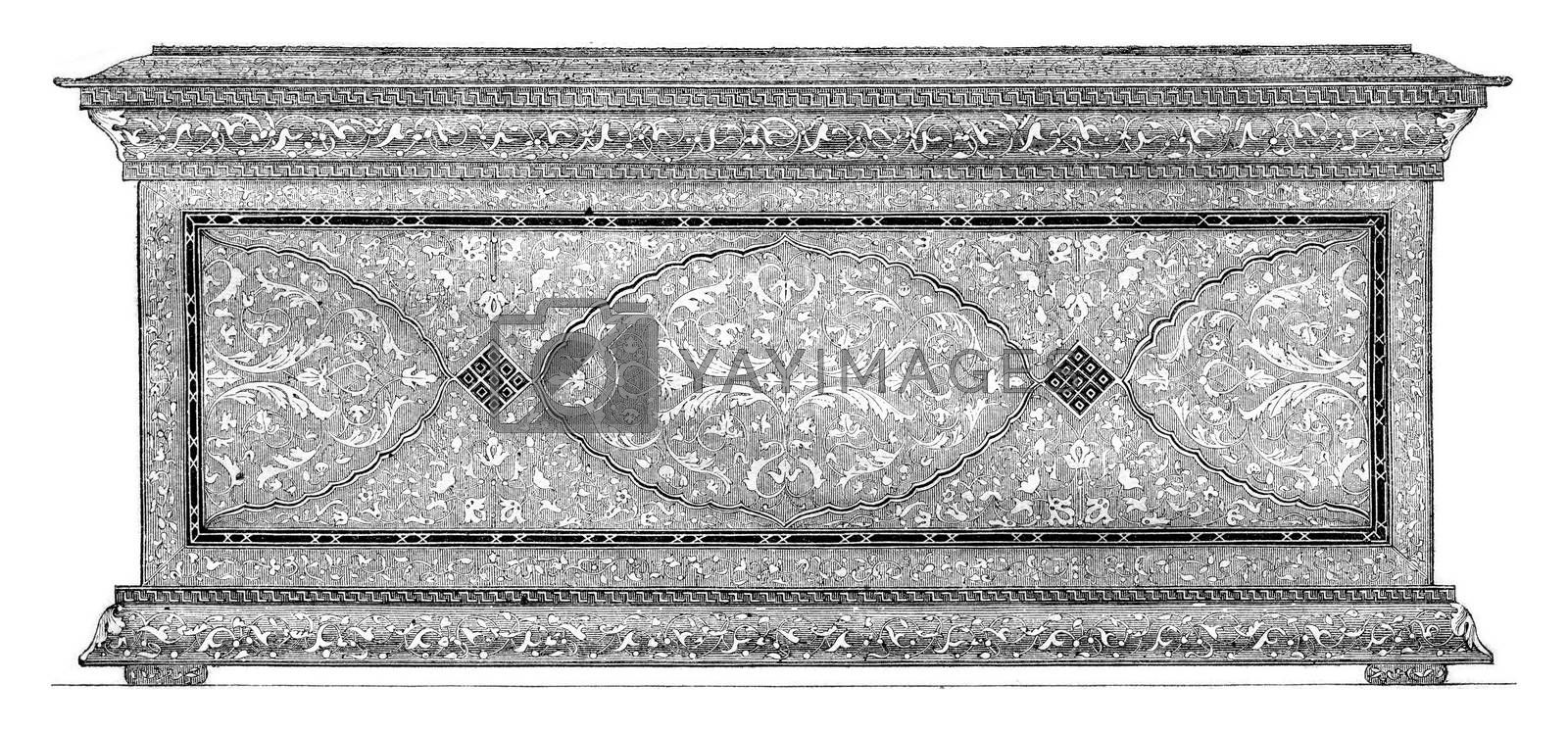 Exterior view of the cassette all Agemina, vintage engraved illustration. Magasin Pittoresque 1857.