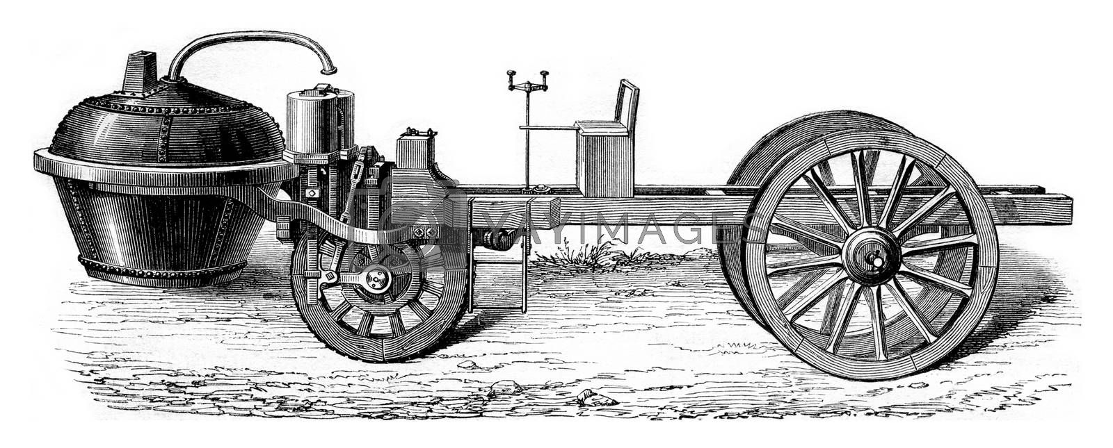 Steam car of Cugnot under Louis XV, vintage engraving. by Morphart