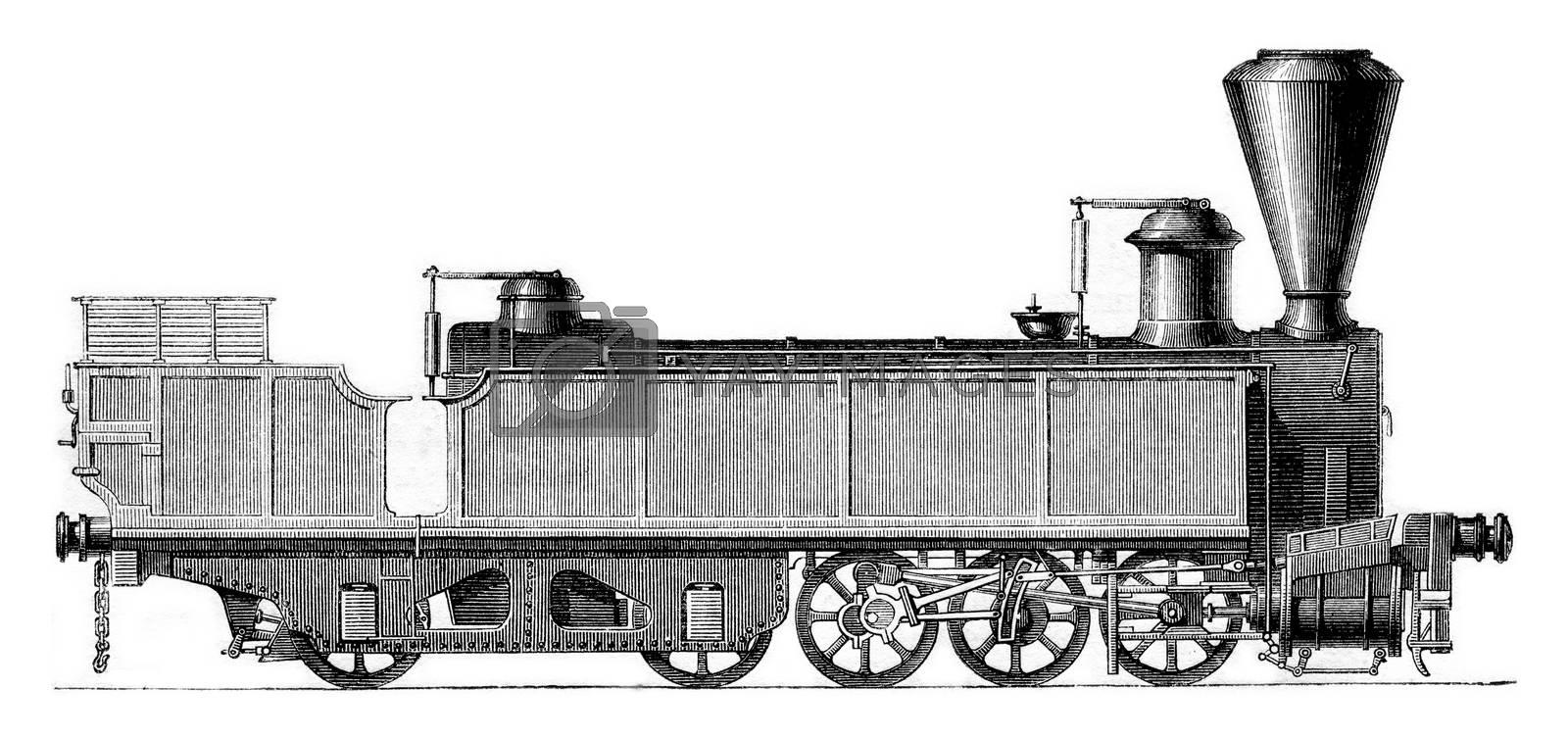 Engerth locomotive, vintage engraved illustration. Magasin Pittoresque 1861.