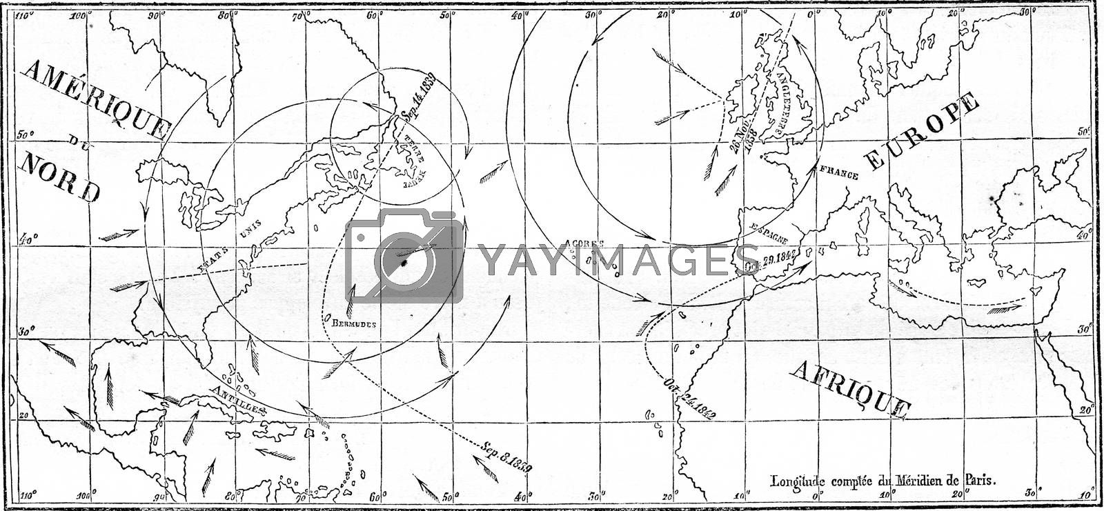 Map of the walk of several cyclones, vintage engraving. by Morphart