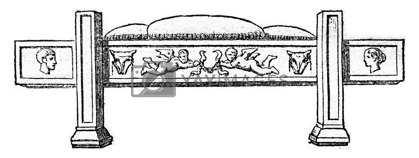 Funeral bed, after a Roman bas relief, vintage engraving. by Morphart