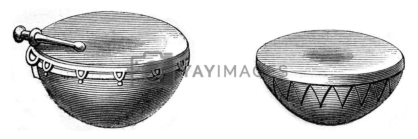 Ancient timpani for dance, Ancient timpani for war, vintage engraved illustration. Magasin Pittoresque 1869.