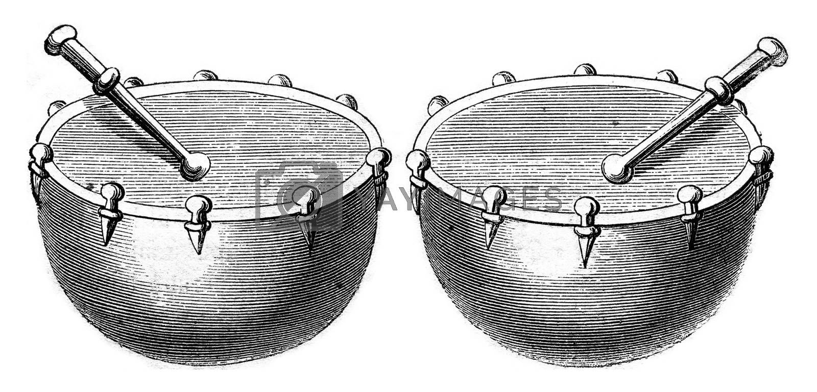 Timpani of war in 1536, vintage engraving. by Morphart