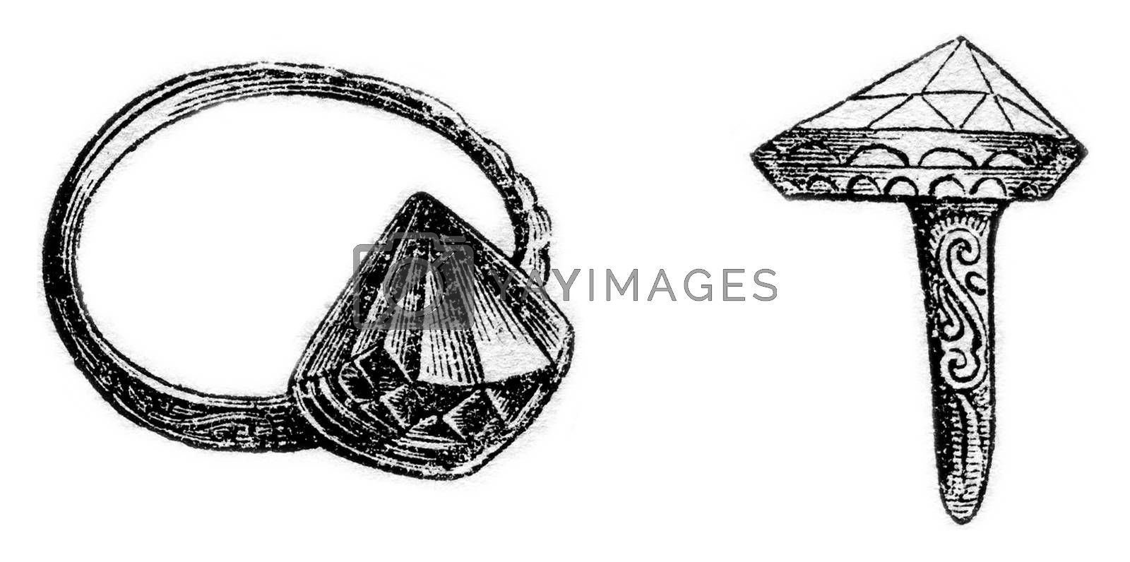 The ring of the Earl of Essex, vintage engraved illustration. Magasin Pittoresque 1869.