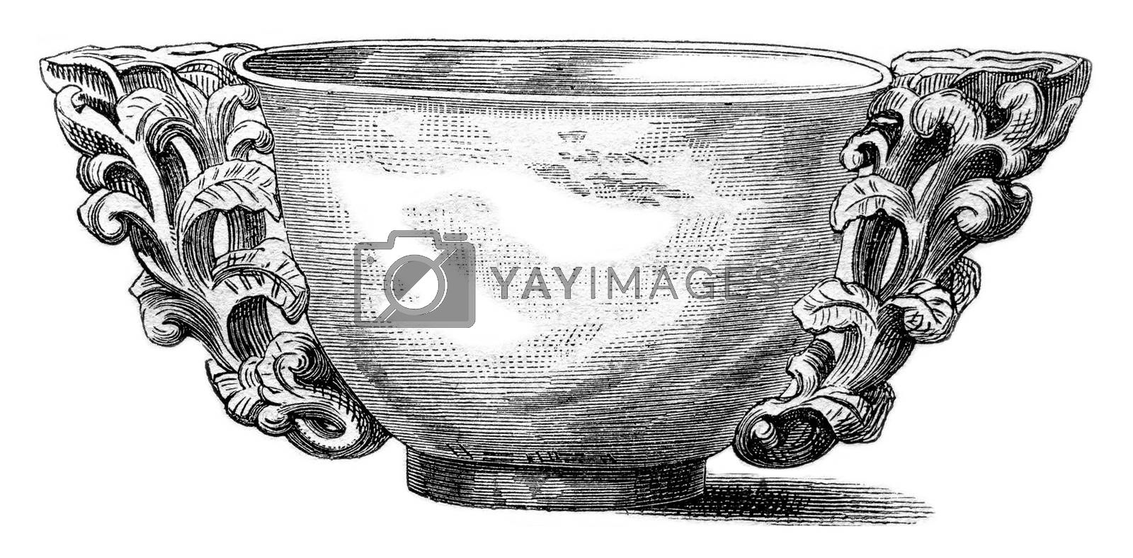 Cup offerings of the Chinese emperors, exhibited in 1869 at the Palace of Industry in Paris, vintage engraved illustration. Magasin Pittoresque 1870.