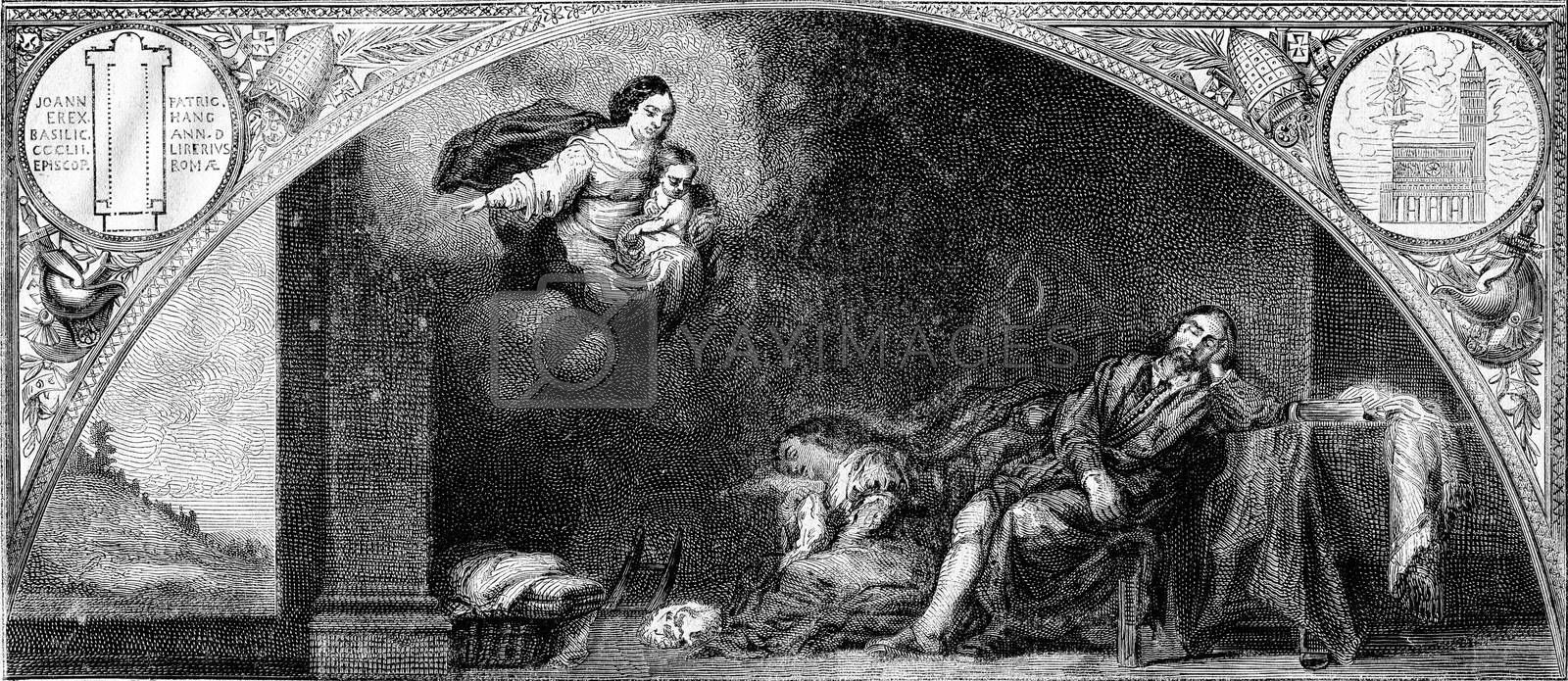 The Dream of the Roman patrician and his wife, table Murille, the Madrid Museum, vintage engraved illustration. Magasin Pittoresque 1873.