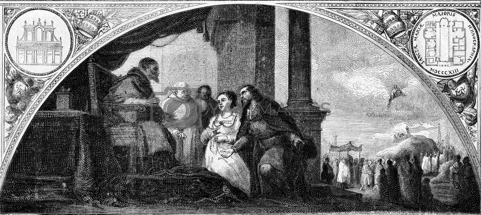 The patrician and his wife at the hearing of the Pope, painting  by Morphart
