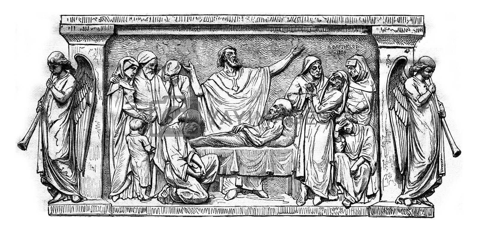 Extreme Unction, vintage engraved illustration. Magasin Pittoresque 1876.