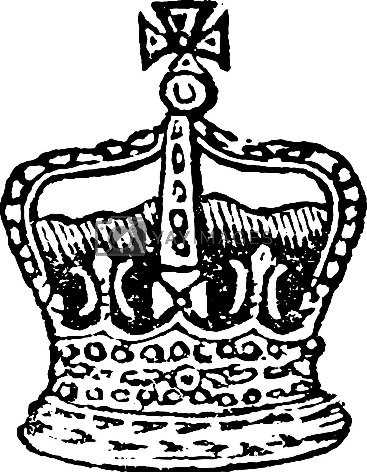 Crown of the King of England, vintage line drawing or engraving illustration.
