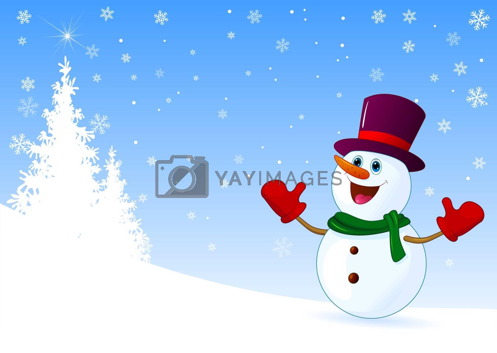 Cute joyful snowman welcomes by liolle