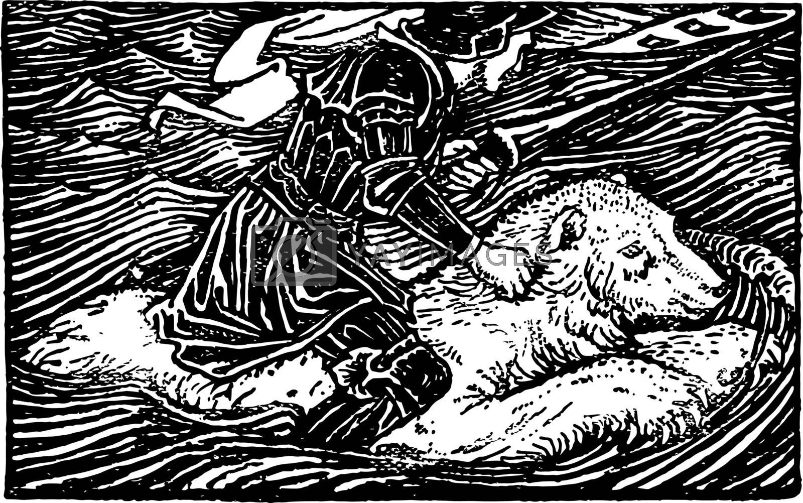 Huon of Bordeaux is a character in a 13th century its epic with romance element and sold follower of the family named Gerasmes vintage line drawing or engraving illustration.