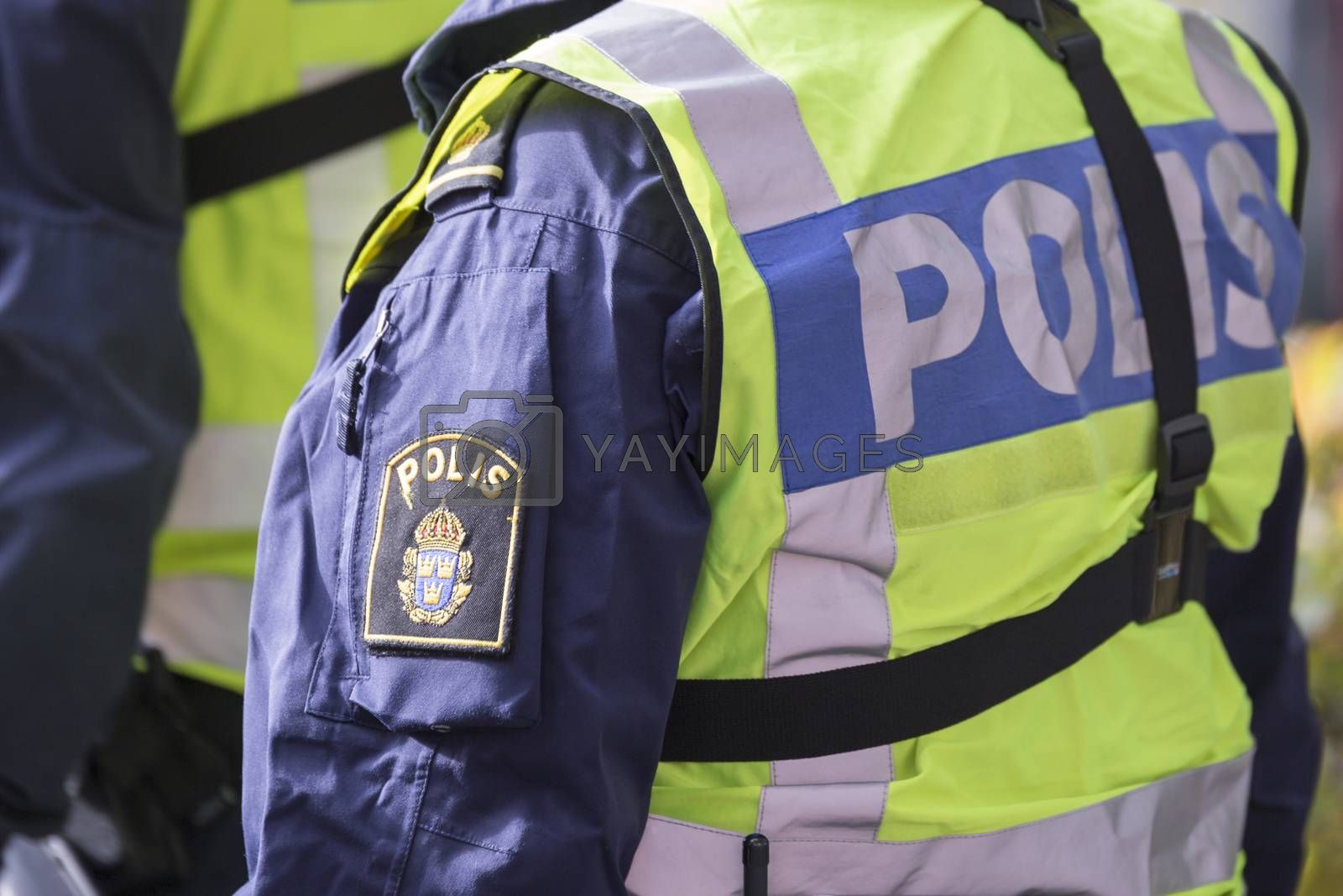 Royalty free image of Swedish Police Officer with Reflective Vest by Emmoth