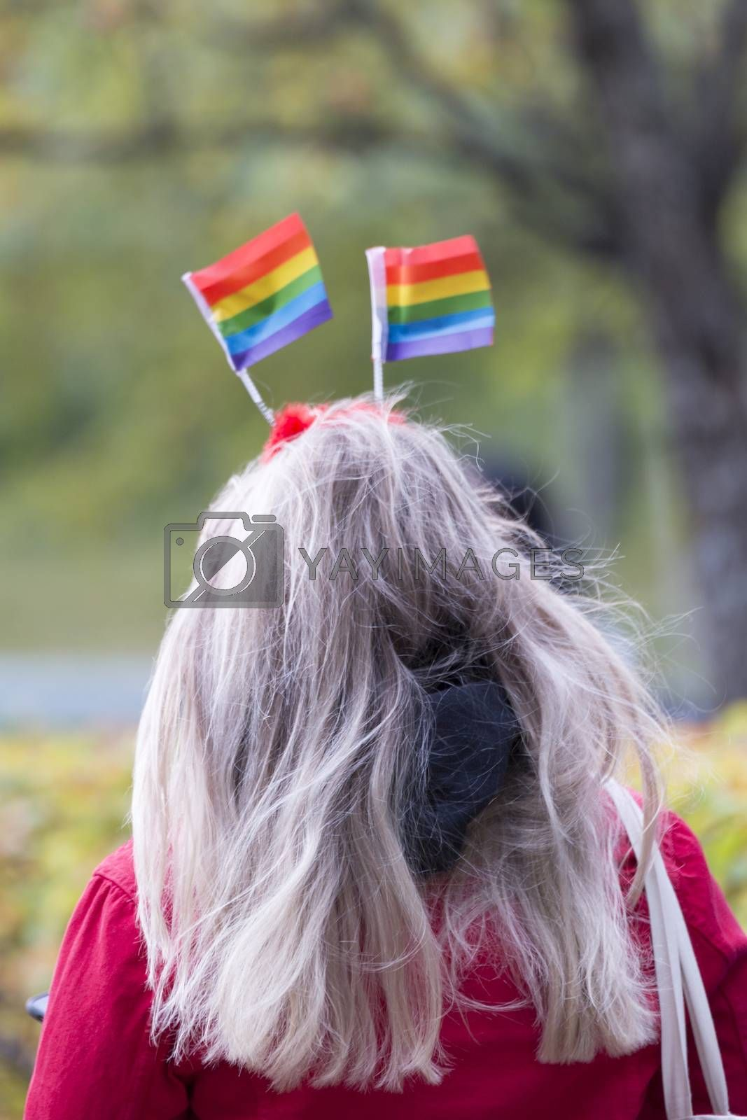 Royalty free image of Female with Rainbow Pride Flags in her Hair by Emmoth