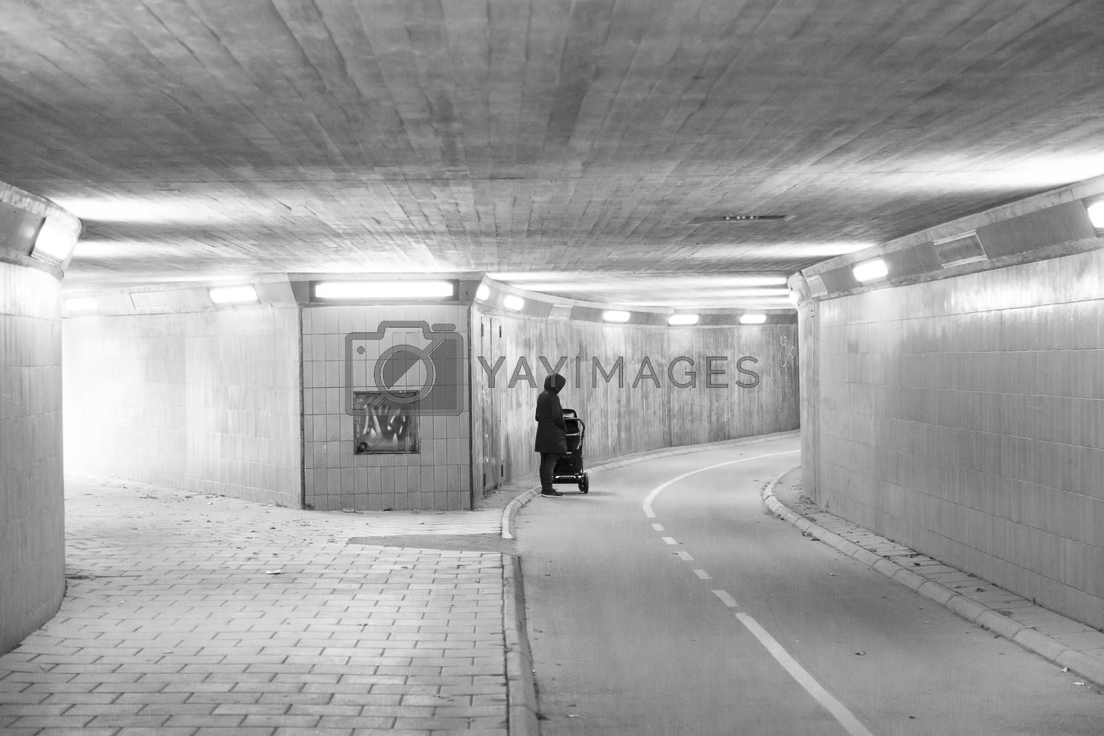 Female with Baby Stroller in Tunnel.