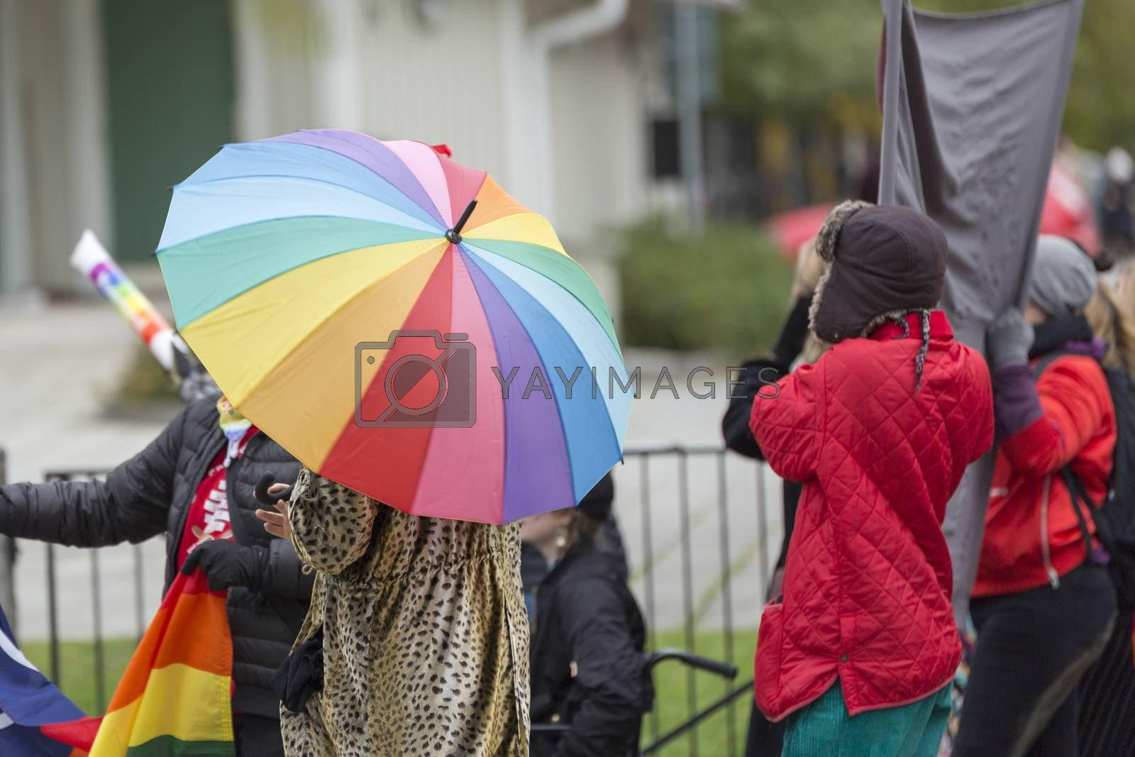Person Carrying Rainbow Umbrella in Pride Parade.