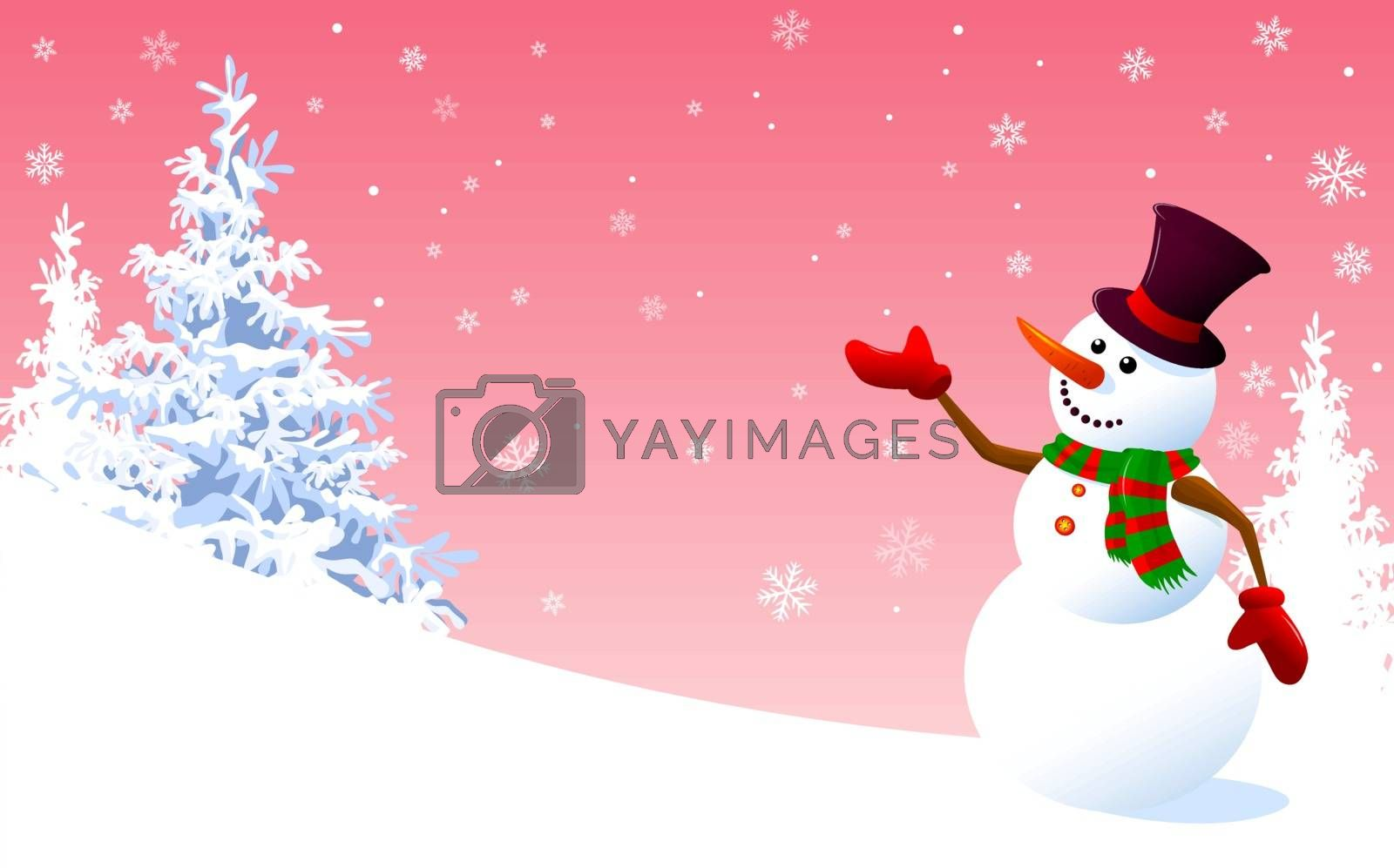 Snowman on a background of pink sky by liolle