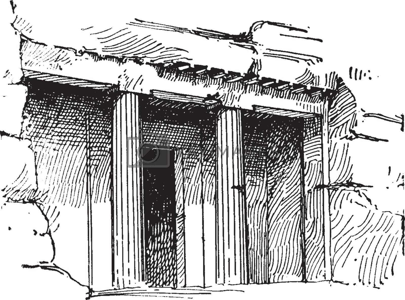 Tomb at Beni-Hassan or bani beni hasan, vintage engraving. by Morphart