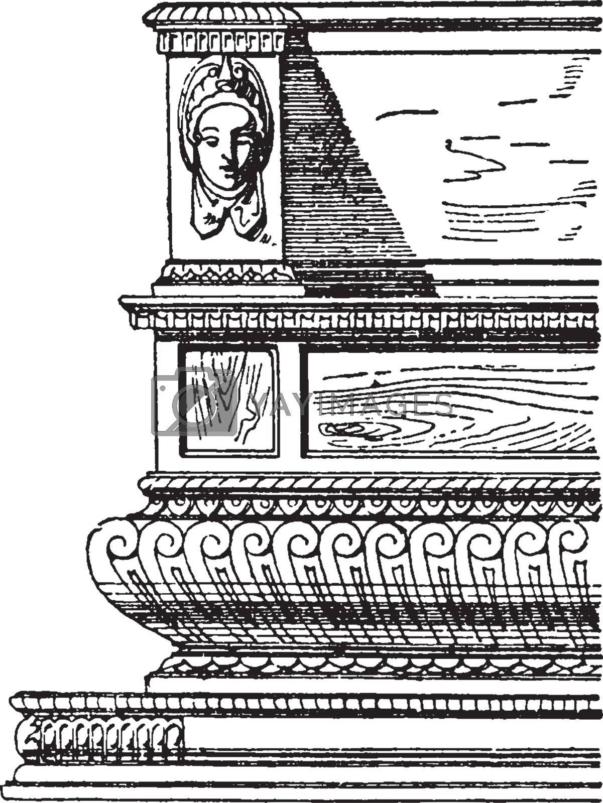 Renaissance Bench, vintage illustration by Morphart