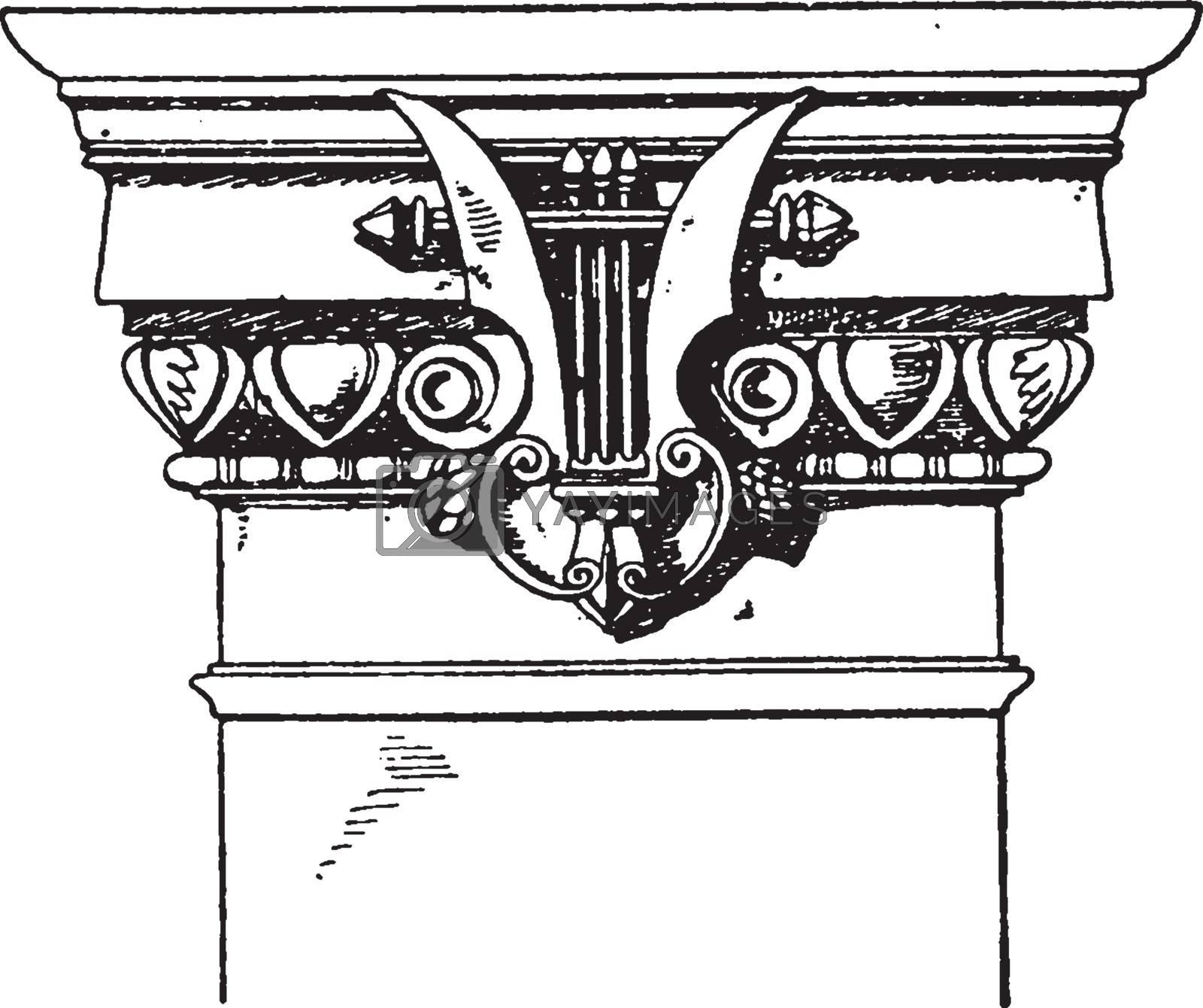 Modern Doric Pilaster Capital, Doric,  vintage engraving. by Morphart
